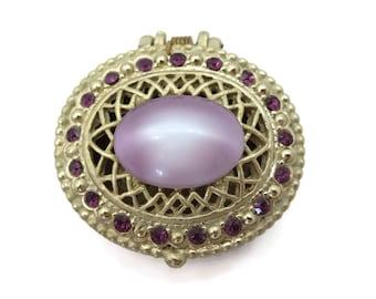 Rhinestone Pillbox - Purple Lucite Cabochon Top