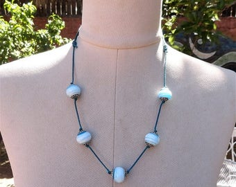 Summer Sale Recycled Lamp Work Bead Necklace Turquoise and White Made in USA