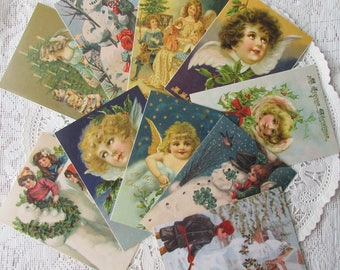 10 Vintage Victorian Angel And Snowman Christmas Cards Group A