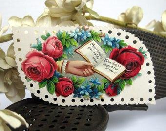 Victorian Calling card HAND holding book salesman sample No3