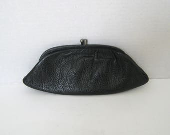 Vintage Black Leather Cosmetic Pouch Travel Clutch Handbag