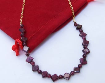 Garnet Necklace, faceted garnet, January birthstone, beaded chain