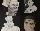 Reserved Listing ~ 3 Twilight Zone Inspired Paintings