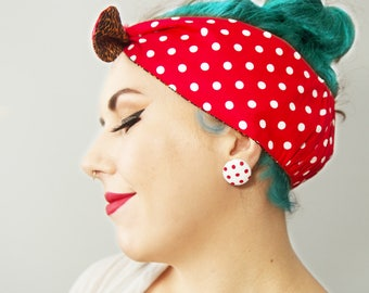 Classic ROCKABILLY 50s Head scarf/ bandana/ dolly bow.  Red/white polka dot & Leopard print