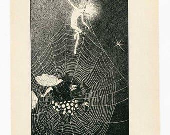 Vintage 1924 Moonbeam Stepping Down the Spider Web Ladder Fantasy Illustration, Print, with Hilda Conkling Poem, DP Lathrop Illustration