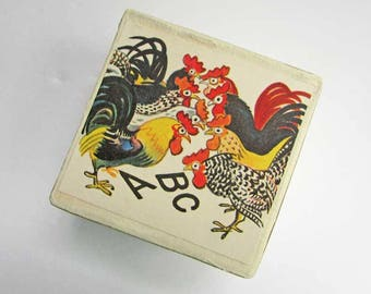 Gift Box, Trinket Box, Jewelry Box, Keepsake Box, Handmade Decorated Box, Vintage Papers Box, Children, Bunch of Roosters and ABC Letters