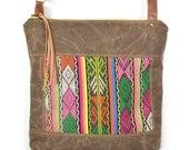 crossbody bucket bag • guatemalan textile - waxed canvas - large crossbody bag • striped - guatemala - global textiles - neon - summer
