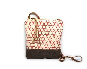 weekdayer • crossbody bag - geometric print • hot pink geometric print - screenprint - waxed canvas - star print - iPad bag - boho - summer
