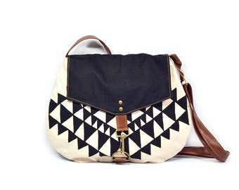satchel • crossbody purse - waxed canvas bag • black and white - geometric triangle print - hand printed canvas - waxed canvas