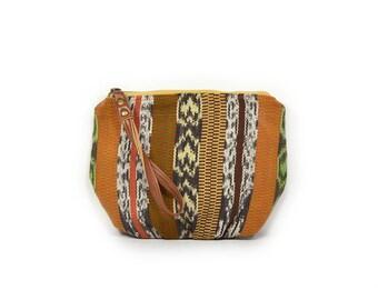 wristlet clutch • wrist strap • ikat - guatemalan textile - guatemala - orange - green • summer style - festival fashion