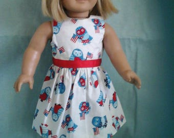 Red White and Blue Owl Dress / Doll Clothes fits American Girl doll or other 18 inch doll