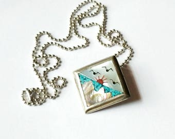 Vintage necklace scenic inlay birds sun ocean mountains turquoise chips abalone mother of pearl MEXICO alpaca