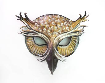 Leather Mask of a Horned Owl  detailed molding and painting original and unique