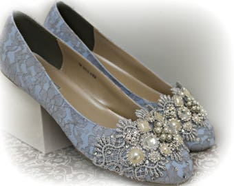 Blue Ballet Flats Wedding Shoes .. Something Blue Wedding Shoes . Bridal Flats. Sparkly Bridal Shoes . Lace Shoes . Extra Comfort  ..