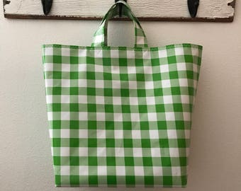 Beth's lime green picnic check Oilcloth Grocery Market Tote Bag