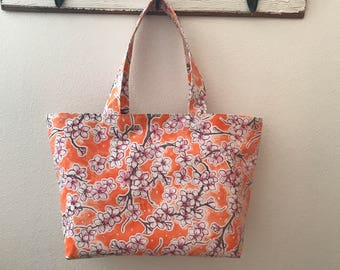 Beth's Large Orange and Pink Blossom Oilcloth Market Tote Bag