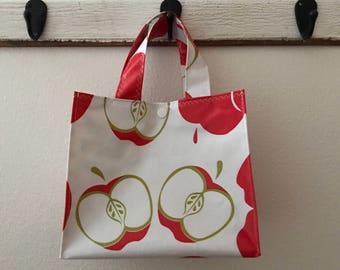 Beth's Red Apples Oilcoth Lunch Box Market Tote Bag