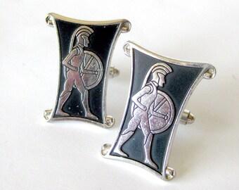 Vintage Men's Cuff Links and Tie Clasp Set / Centurion Soldier / Roman Soldier Cufflinks / Silver and Black