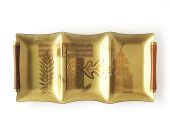 Mid-Century Gold Glass Decorative Tray / Tidbit Tray / Serving Tray / Retro Glass Tray / Gold Leaf Design / Wood Handles / Colony Tray