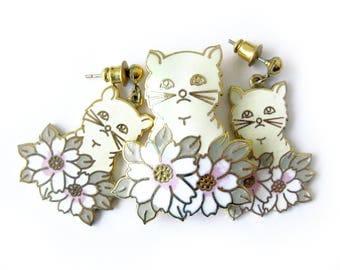Vintage Enamel Cat Brooch and Earrings / Kitty in Flowers / Enamel Cloisonné / Ivory Kitty / Pink Flowers / Post Earrings / Crazy Cat Lady