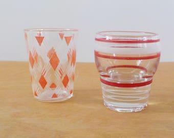 Vintage Shot Glasses Stripes and Diamonds • Vintage Red and White Shot Glasses