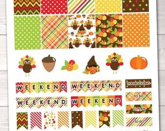 35% OFF SALE Printable Thanksgiving Planner Stickers Instant Download November Sticker Set PDF Digital File