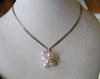 ON SALE Beautiful Sterling Silver Genuine Pearl Cluster Pendant Necklace