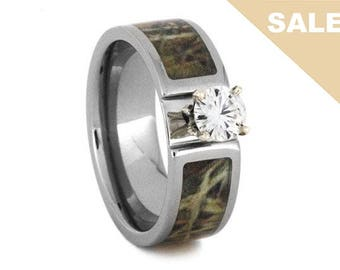 on sale solitaire moissanite engagement ring camo ring with titanium unique woman engagement - Camo Wedding Rings For Him