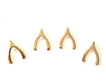 4 or 2 Pairs of Small Wish Bone Wishbone Charm Pendants