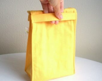 ON SALE Insulated Eco Lunch Bag - Organic Cotton - Yellow - Back to School
