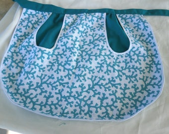 OOAK Vendor Apron in Christmas Theme - Green and White
