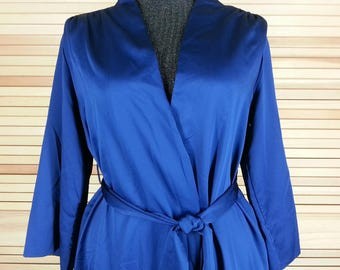 Vintage 70s blue wrap robe with waist tie polyester satin size S small chest 42+ Blanche by Ralph Montenero