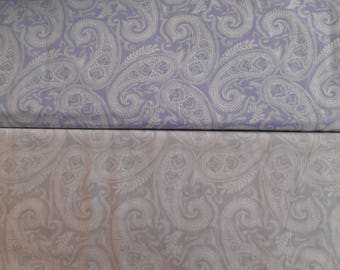 "Paisley Daisy Kingdom Springs 100% cotton fabric white on blue/gray 1 yd x 44""w"