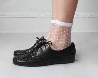 black woven leather oxfords | leather lace up oxfords, US 9N/8.5