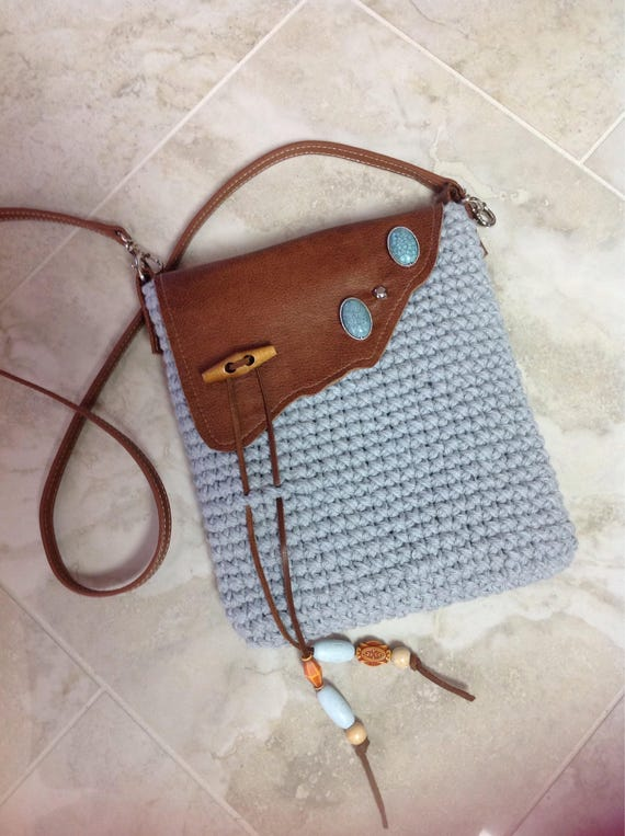 Handmade, cotton crocheted, crossbody, or over the shoulder purse