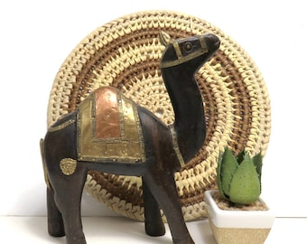 Carved Wood Camel with Brass, Copper Embellishments/ Handcrafted Boho Desert Animal
