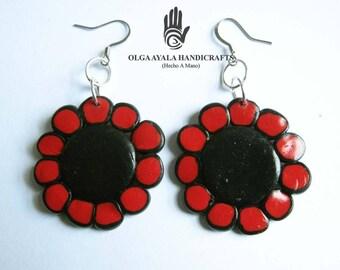 Black and Red Mod Flower Earrings