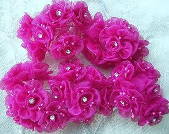 18 Chic Fuchsia Organza Ribbon Wired Rose Flower w rhinestone Christmas Holiday Bridal Wedding Favor Bow Hair Accessory Applique