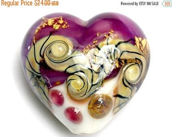 ON SALE 35% OFF 11818425 Cranberry Treasure Heart (Large) - Handmade Glass Lampwork Beads