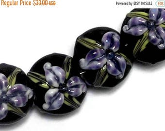 ON SALE 35% OFF New! 10205712 Four Purple Iris Lentil Beads - Handmade Glass Lampwork Bead Set