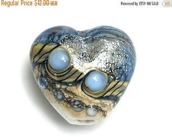 ON SALE 35% OFF Sweet Blue Stardust Heart Focal Bead - Handmade Glass Lampwork Bead 11831905