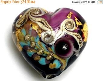 ON SALE 35% OFF 11818525 Amethyst Treasure Heart (Large) - Handmade Glass Lampwork Bead
