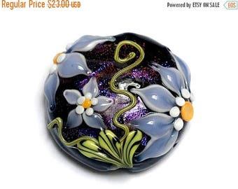 ON SALE 30% off NEW! 11838102 Lilac's Elegance Lentil Focal Bead - Handmade Glass Lampwork Bead