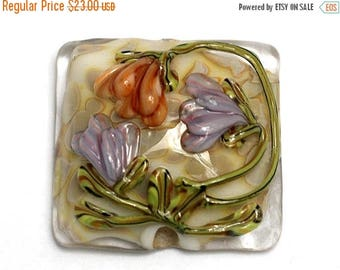 ON SALE 30% off Light Pink w/Orange Floral Pillow Focal Bead - Handmade Glass Lampwork Bead 11815004