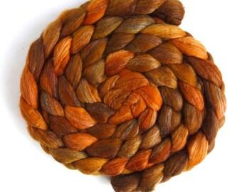Pre-Order Colorway: Merino/ Silk Roving (Top) - Handpainted Spinning or Felting Fiber, Orange Shades