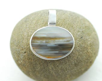 Waterline Agate Pendant, Short Necklace, Oval Gemstone Agate Jewelry, Umber Brown, Silver Ocean Wave, Simple Everyday Wear, Mens Unisex Gift