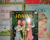 Little Golden Books 5 Prayers Hymns Verses God Children's Books Lot
