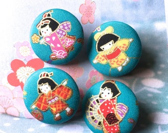 "Handmade Blue Red Gold Japanese Oriental Girl Fabric Covered Buttons, Japanese Fridge Magnets, 1.2"" 4's"
