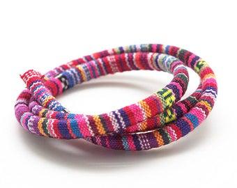 50cm 6.5 mm pink multicolor woven ethnic cotton cord
