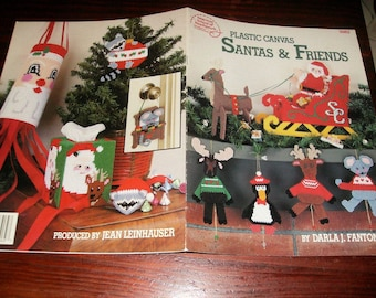 Christmas Plastic Canvas Patterns Santas and Friends American School of Needlework 3062 Plastic Canvas Leaflet Darla Fanson